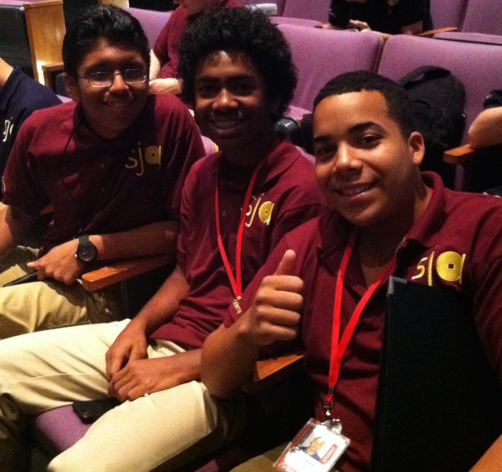 Jesus with fellow students at the Lincoln Center Summer Jazz Academy