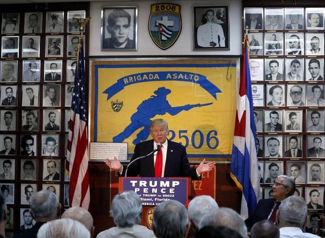 Trump speaking at the Bay of Pigs Museum in Little Havana